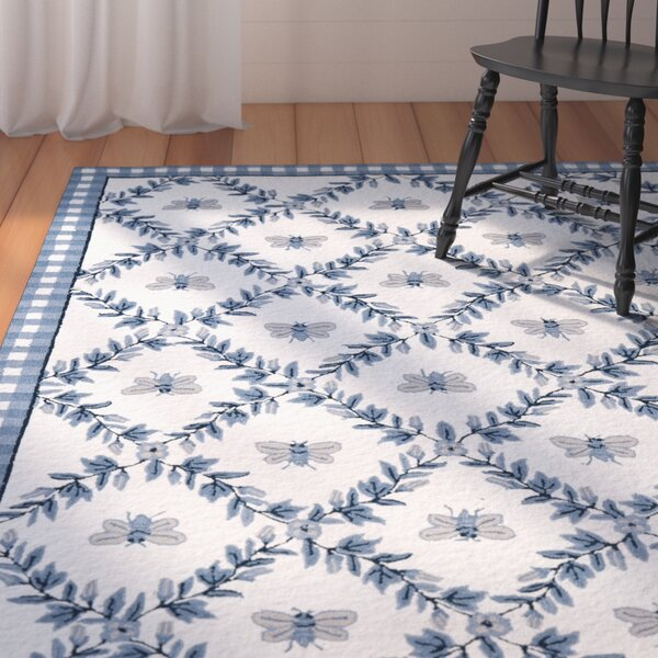 Kinchen Ivory/Blue Bumblebee Area Rug by August Grove