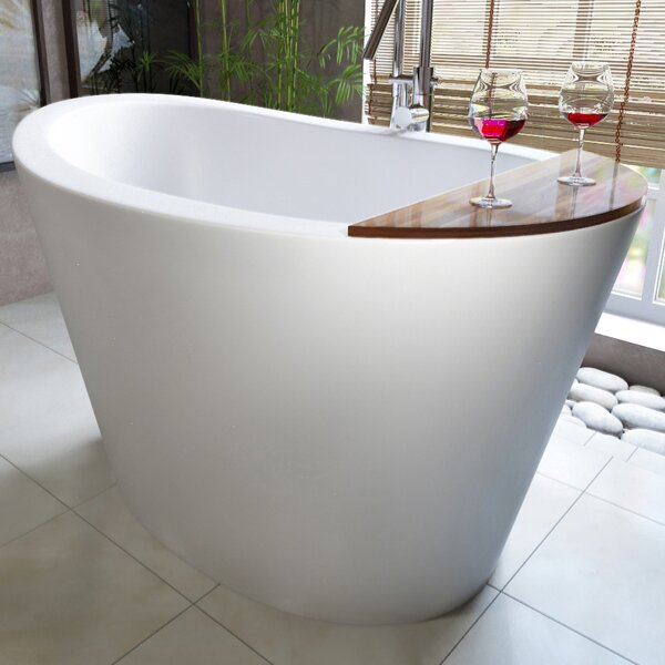 True Ofuro 51.5 x 36.25 Freestanding Soaking Bathtub by Aquatica