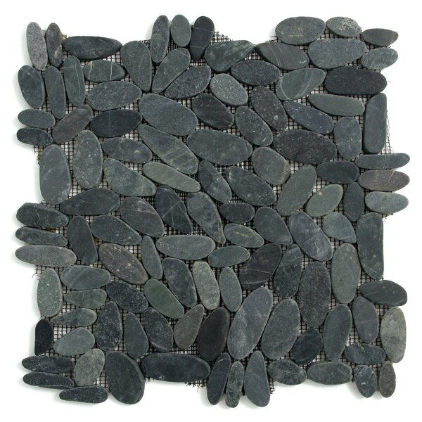 Decorative Pebbles Random Sized Natural Stone Pebble Tile in Komodo Black by Solistone