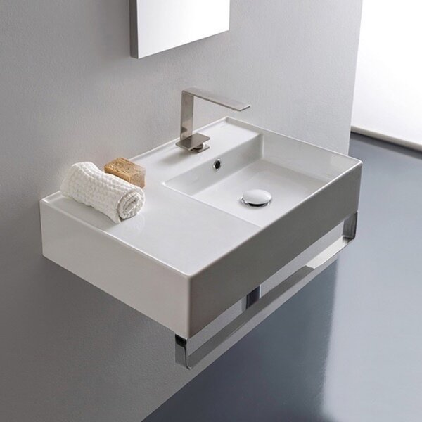 Ceramic 24'' Wall Mounted Bathroom Sink with Overflow by Scarabeo by Nameeks