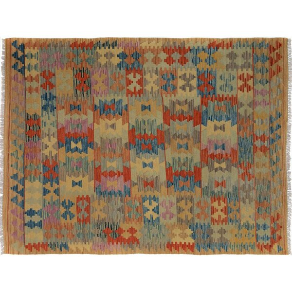 Sinclair Hand-Woven Rectangle Wool Tan/Blue Area Rug by Isabelline