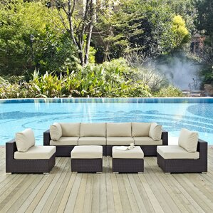 Delightful Ryele 8 Piece Aluminum Frame Outdoor Patio Sectional Set With Cushions