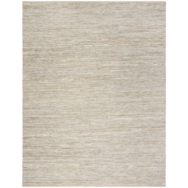 Swayze Contemporary Hand Tufted Beige Leather Area Rug by Mistana