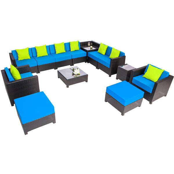 Micheals Patio All-Weather 13 Piece Rattan Sectional Seating Group with Cushions by Latitude Run