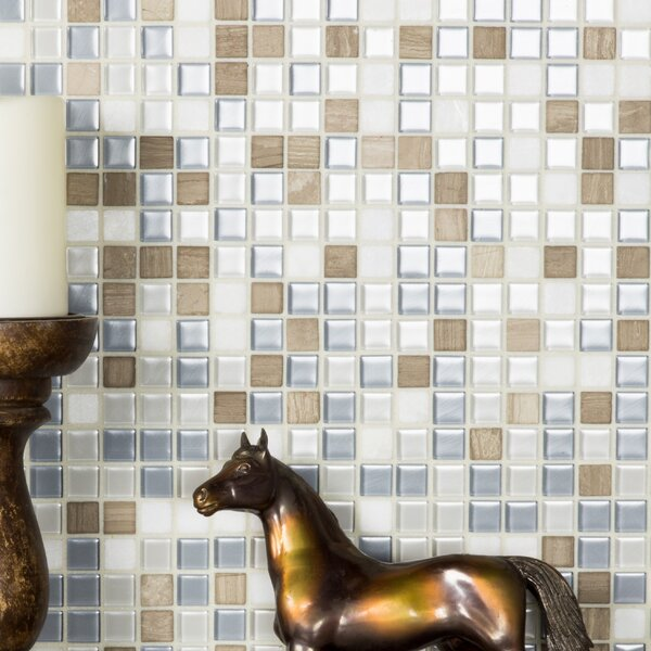 Crystal Stone 0.63 x 0.63 Glass Mosaic Tile in Glazed Angle Feather by Abolos