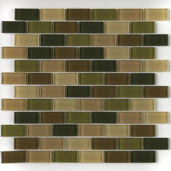 Geneva Brick-Joint 12 x 13 Glass Mosaic Tile in Classic Rain Forest by Itona Tile