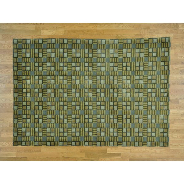 One-of-a-Kind Beverly Hand-Knotted Green Wool Area Rug by Isabelline
