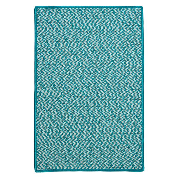 Outdoor Houndstooth Tweed Turquoise Area Rug by Colonial Mills