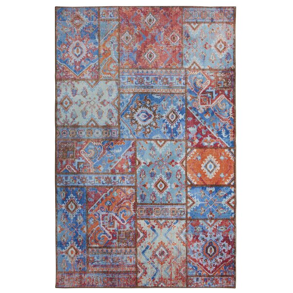 Dario Blue/Orange Area Rug by Bungalow Rose