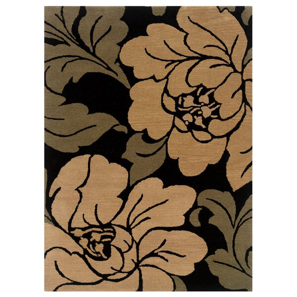 Hand-Tufted Black/Sand Area Rug by The Conestoga Trading Co.