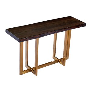Bertram Modern Acacia Wood Top Console Table by Everly Quinn