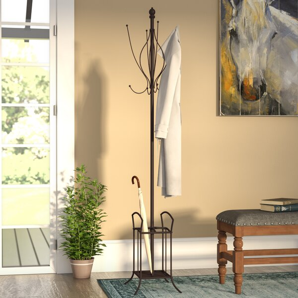 Freestanding Metal Coat Rack with Umbrella Stand by Three Posts