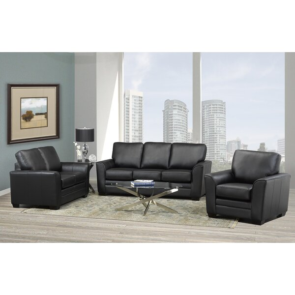 Toolsie 3 Piece Leather Living Room Set by Orren Ellis Orren Ellis