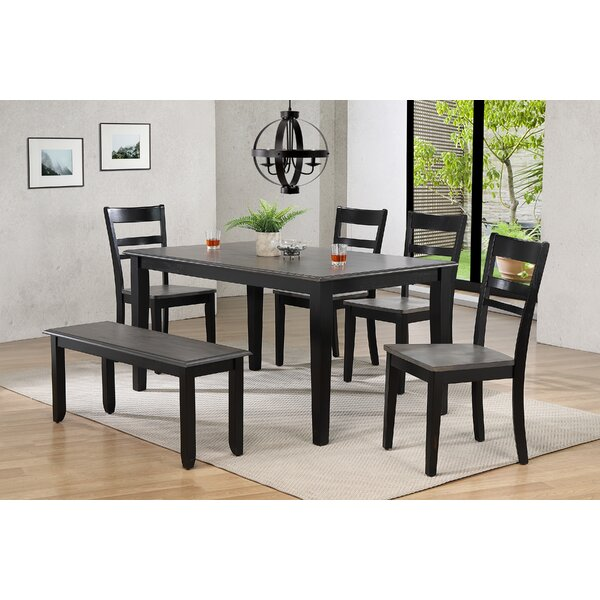 Tempo Brook 6 Piece Extendable Solid Wood Dining Set by Gracie Oaks