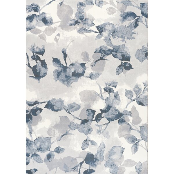 Bellatrix Botanical Pattern Cream/Blue Area Rug by Alcott Hill
