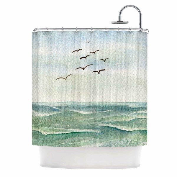 Cyndi Steen Flock Flying Low Coastal Shower Curtain by East Urban Home