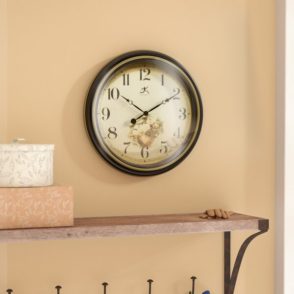 Round Black/Gold 15 Wall Clock by Alcott Hill