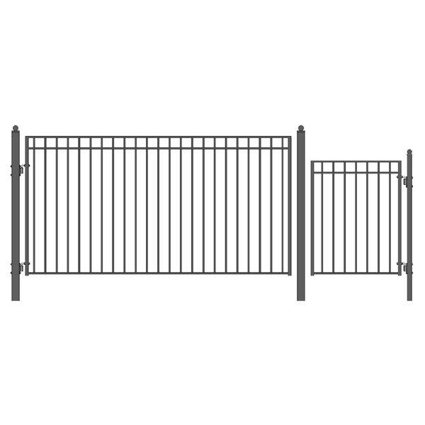 Madrid Steel Single Swing Driveway Gate with Pedestrian Gate by ALEKO
