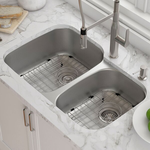 Outlast MicroShield™ 32 x 21 Double Basin Undermount Kichen Sink by Kraus