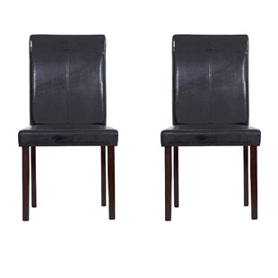 Genuine Leather Upholstered Dining Chairs (Set of 2) By Warehouse of Tiffany