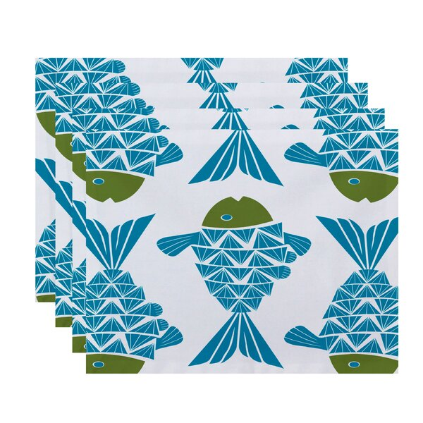 Grand Ridge Big Fish Coastal Placemat (Set of 4) by Bay Isle Home