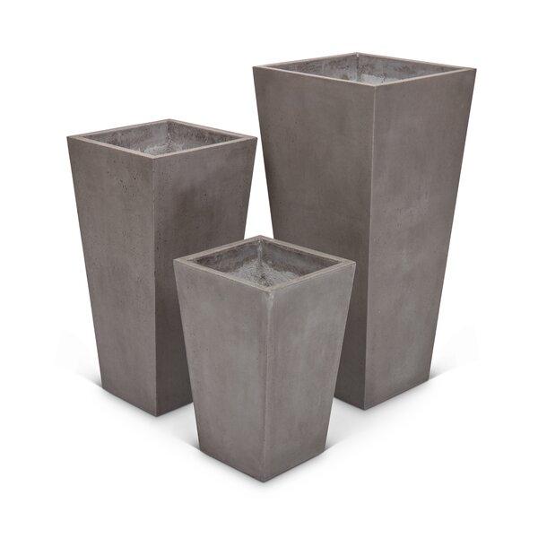 Ranchester 3-Piece Concrete Pot Planter Set by Greyleigh