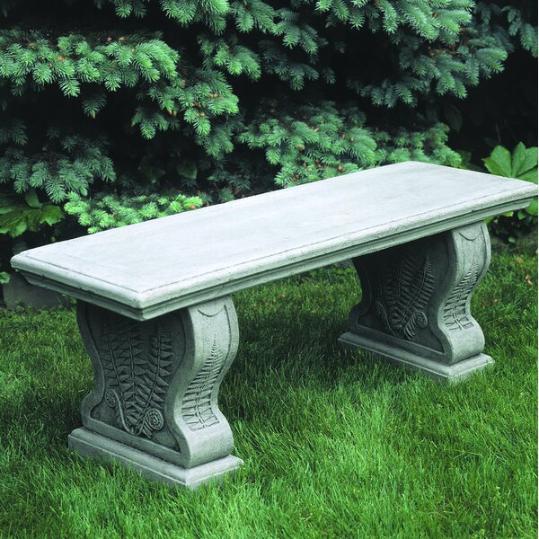 Straight Woodland Ferns Cast Stone Garden Bench by Campania International