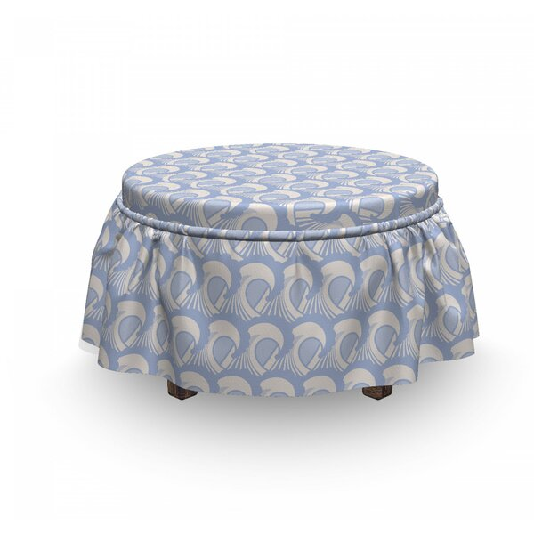 Abstract Art Sea Ocean Waves Ottoman Slipcover (Set Of 2) By East Urban Home