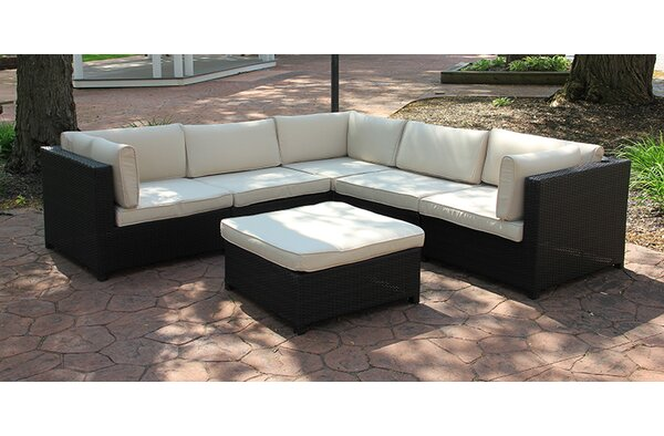 6 Piece Rattan Sectional Seating Group with Cushions by Northlight Seasonal