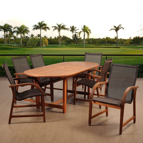 Medrano Panama Eucalyptus Extendable 7 Piece Dining Set by Longshore Tides