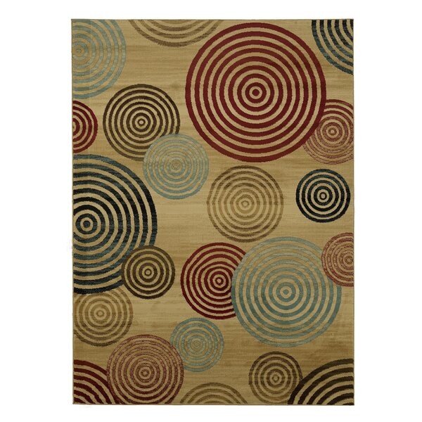 Thurlow Modern Contemporary Beige/Brown/Red Area Rug by Ebern Designs