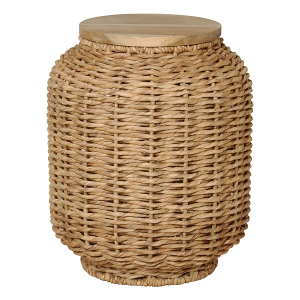 Large Water Hyacinth Wood Lantern Stool by Emissary Home and Garden