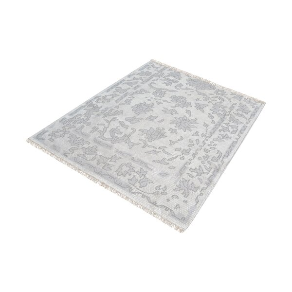 Kinkade Hand-Knotted Silver/Ivory Area Rug by Charlton Home