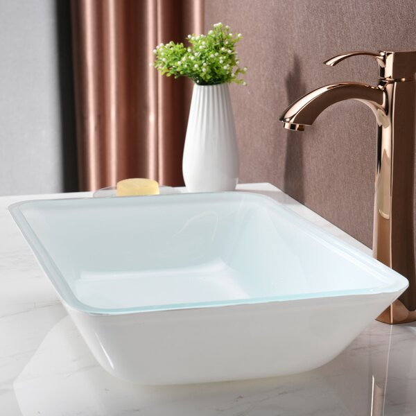 Broad Glass Rectangular Vessel Bathroom Sink by ANZZI
