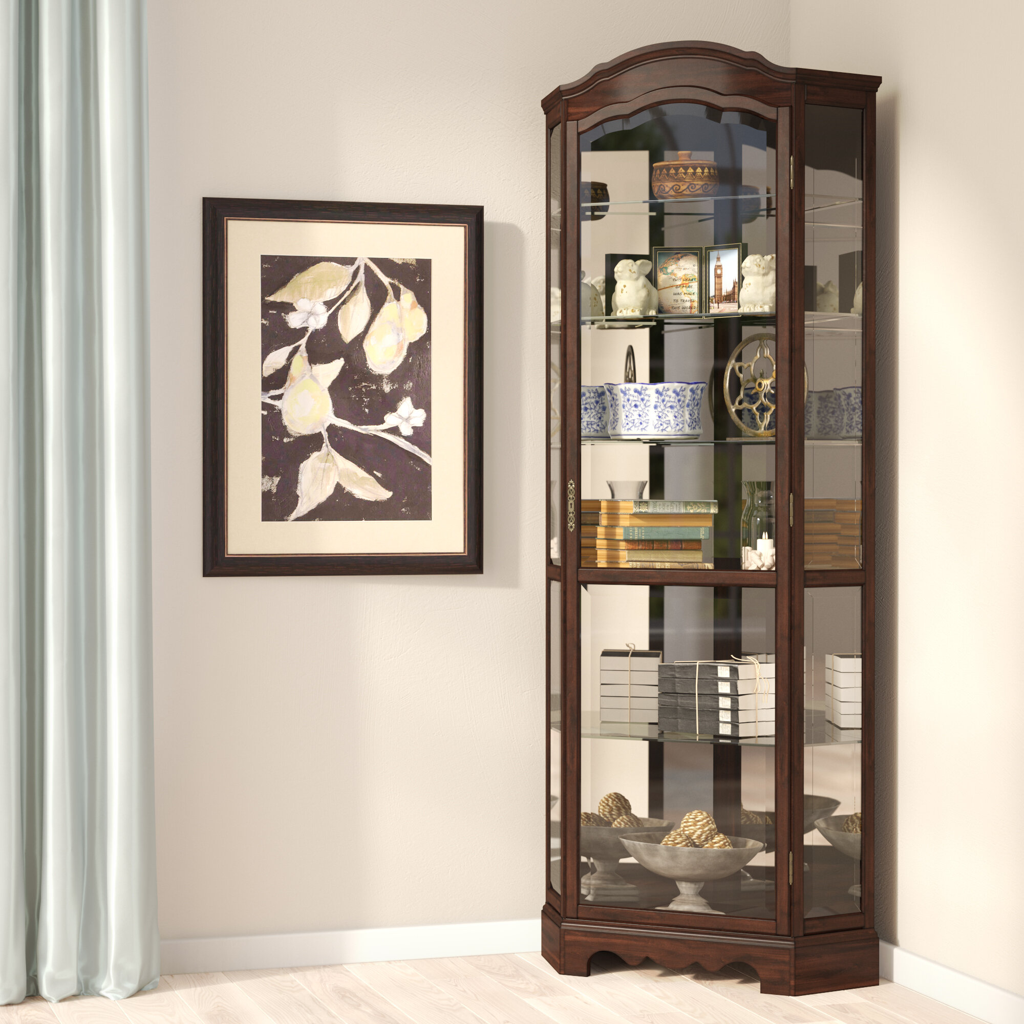 Ferron Lighted Corner Curio Cabinet
