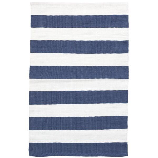 Catamaran Stripe Blue/White Indoor/Outdoor Area Rug by Dash and Albert Rugs
