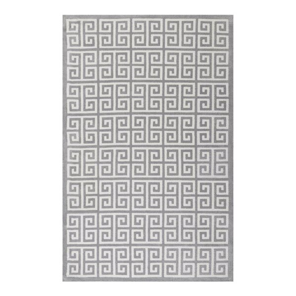 Selman Greek Key White/Light Gray Area Rug by Mercer41