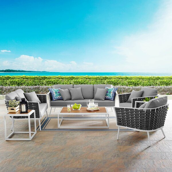 Grandfield Stance Outdoor 5 Piece Rattan Sofa Seating Group Set with Cushions by Brayden Studio