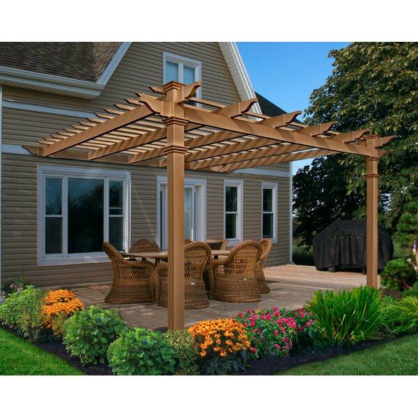 Kennedy 12 Ft. W x 12 Ft. D Vinyl Pergola by New England Arbors