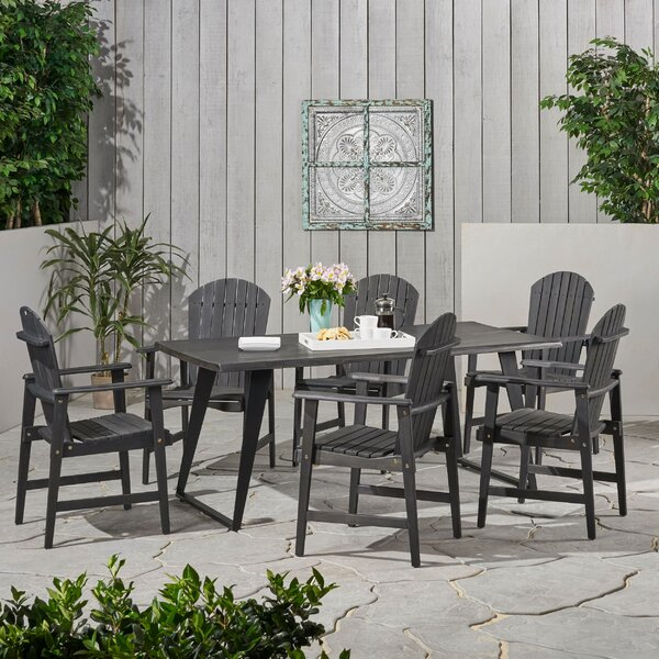 Pattonsburg Outdoor Acacia Wood 7 Piece Dining Set by Alcott Hill