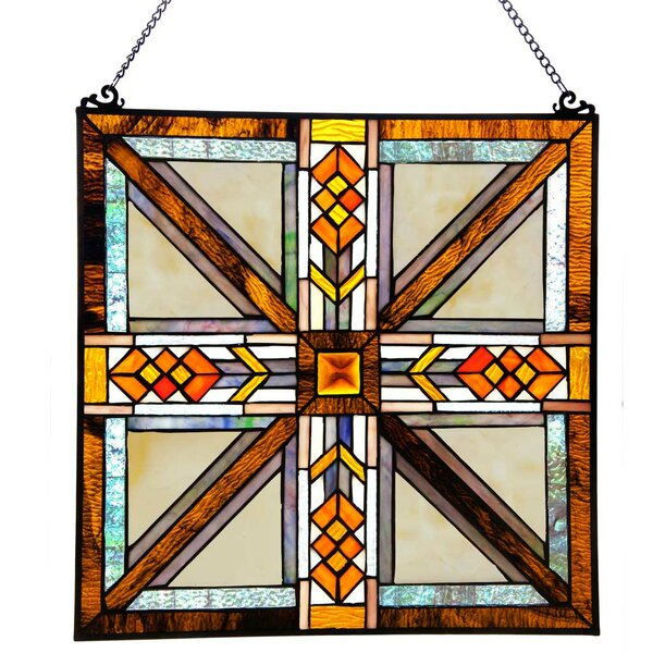Stained Glass Southwestern Mission Style Window Panel by Loon Peak
