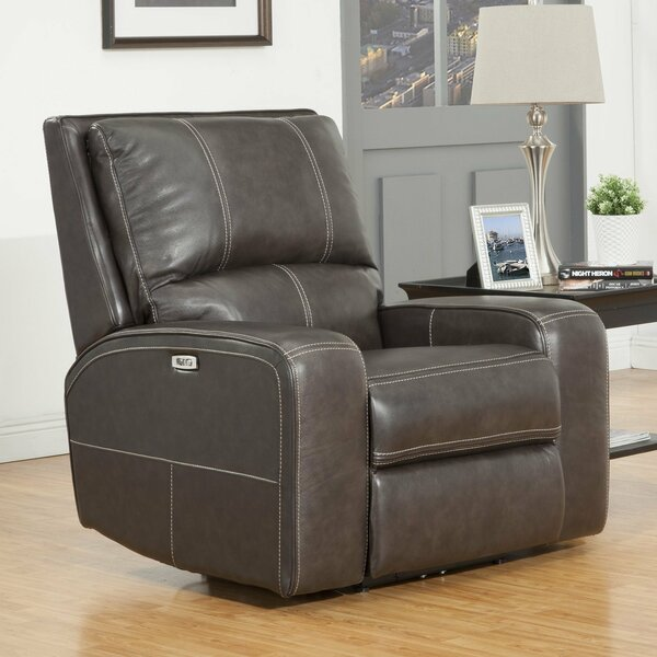 Suez Leather Power Recliner By Latitude Run