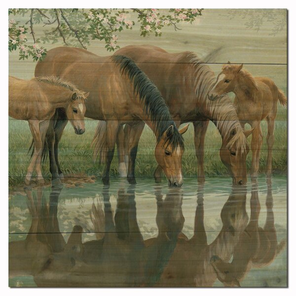 Sweet Spring Horses by Persis Clayton Weirs Painting Print Plaque by WGI-GALLERY