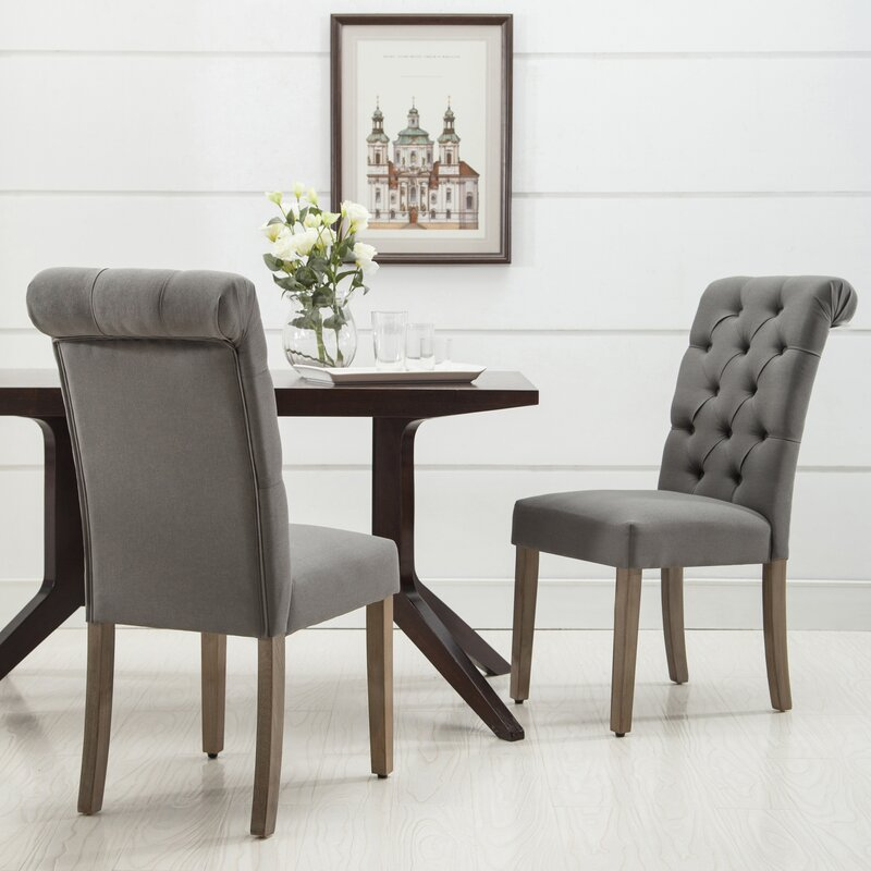 christies roll top tufted modern upholstered dining chair