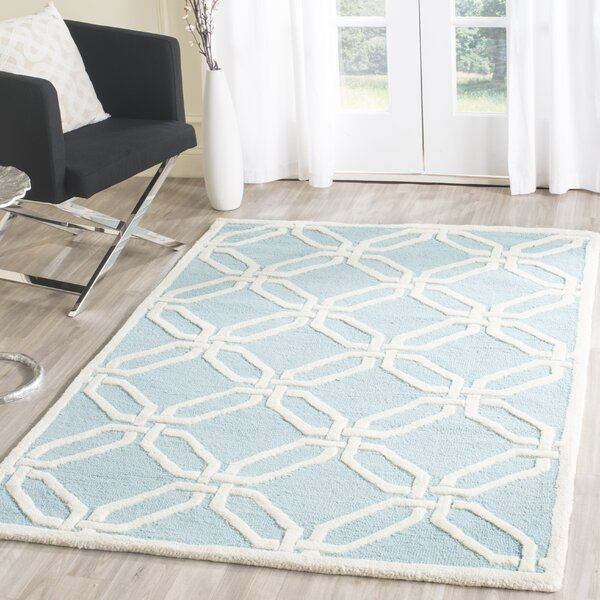 Martins Hand-Tufted Light Blue/Ivory Area Rug by Wrought Studio