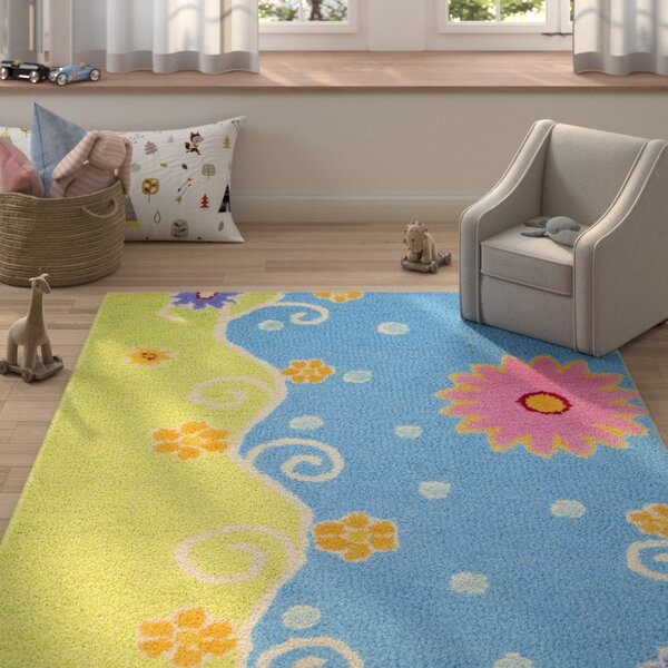 Claro Blue/Green Floral Area Rug by Harriet Bee