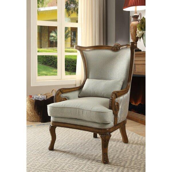 Swindell Fabric Upholstered Wooden Armchair with Pillow by Astoria Grand