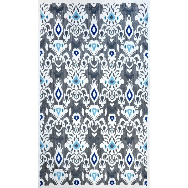 Ikat Cranebrook Machine Made Gray/Blue Outdoor Area Rug by Red Barrel Studio
