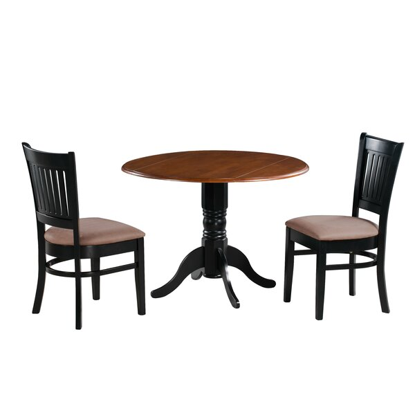 Pam 3 Piece Drop Leaf Solid Wood Dining Set by Charlton Home