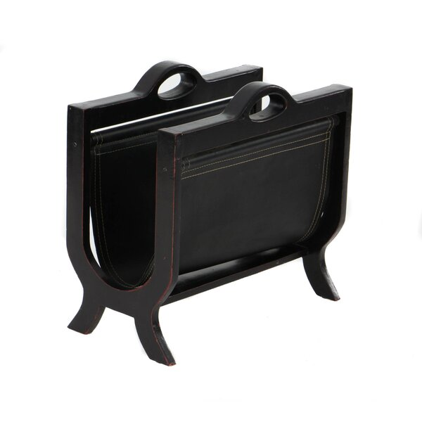 De Witt Handcrafted Decorative Wood And Leather Magazine Rack By Three Posts.